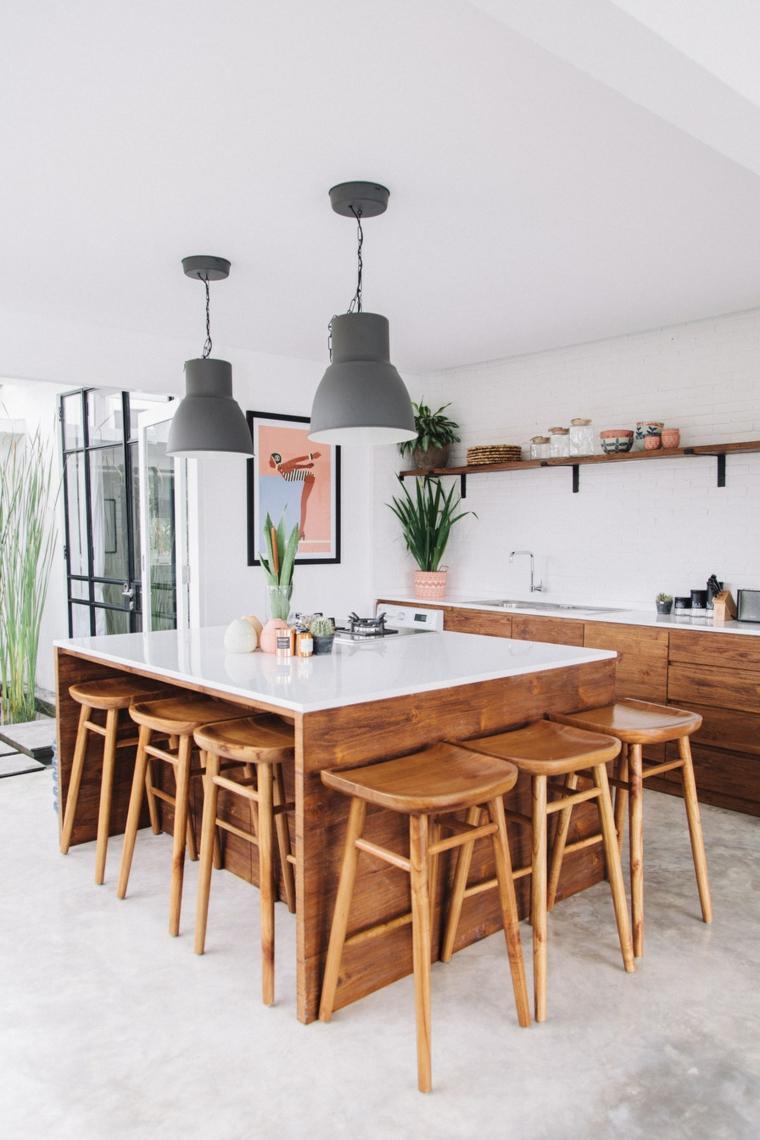 isla forma cuadrada cocina estilo ideas