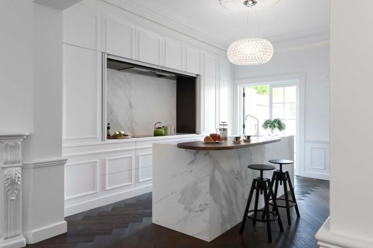 isla marmol cocina blanco diseno estilo ideas
