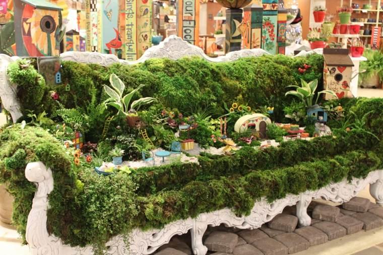 mini jardín en un banco