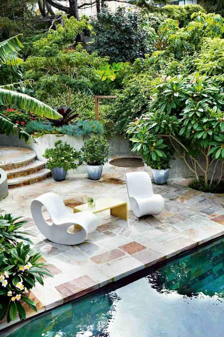 jardin piscina diseno original estilo sillones ideas