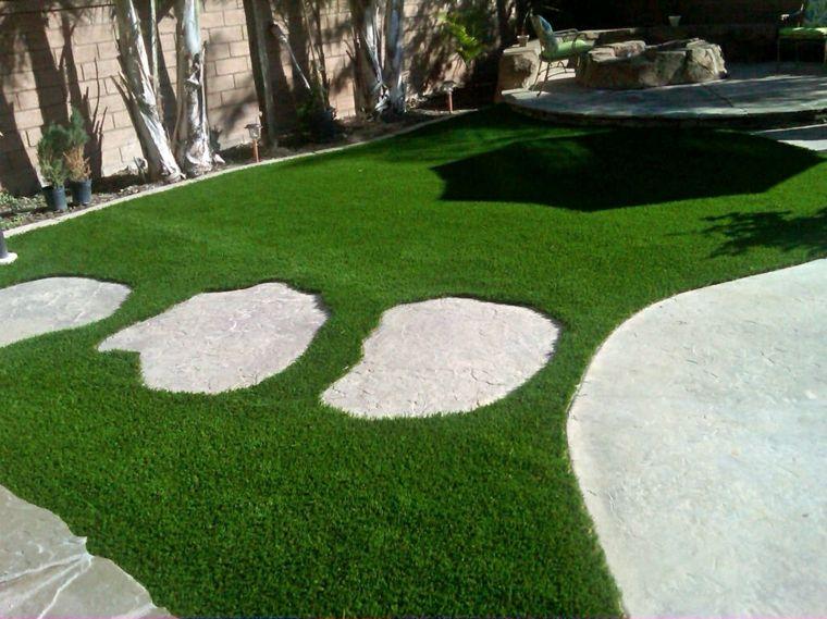jardines con cesped artificial modernos elegantes