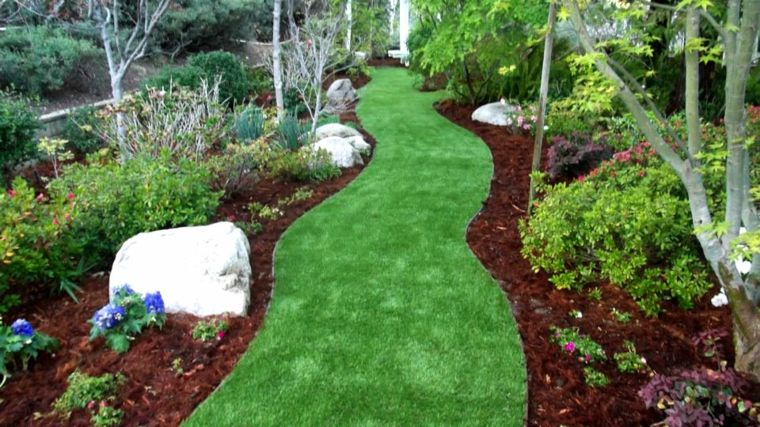 jardines con cesped decorar