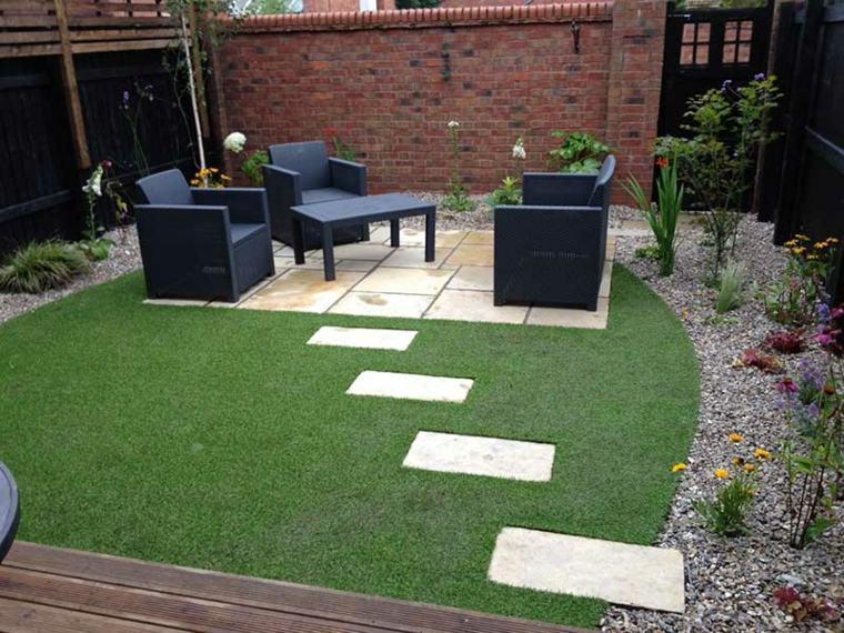 jardines de cesped artificial