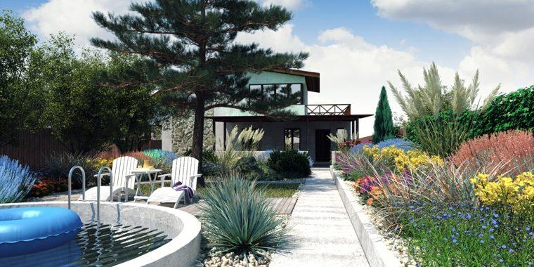 jardines mediterráneos-estilo-plantas-piscina-pequena