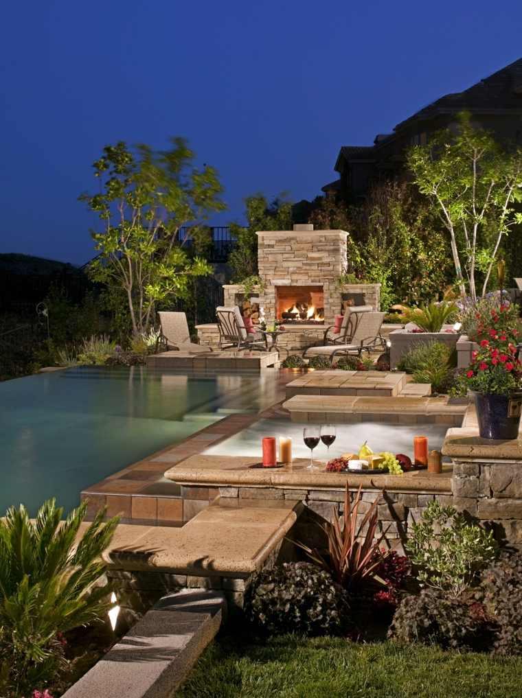 jardines mediterráneos-jacuzzi-chimenea-AMS-Landscape-Design