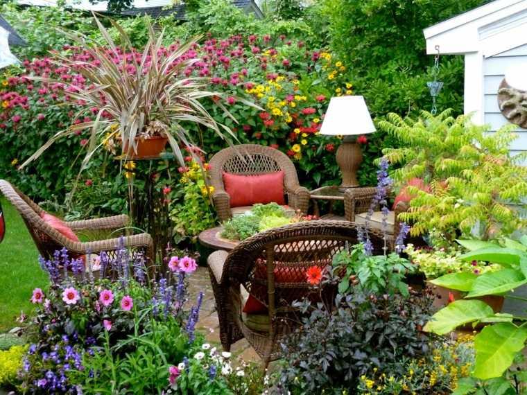 jardines pequeños ideas exuberantes-paredes bloques