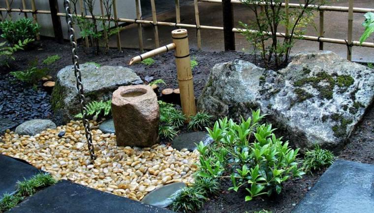 jardines piedras y elementos de bamb en un diseo de estilo japons