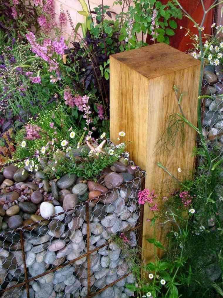 jardines piedras combinados-naturaleza-materiales-postes