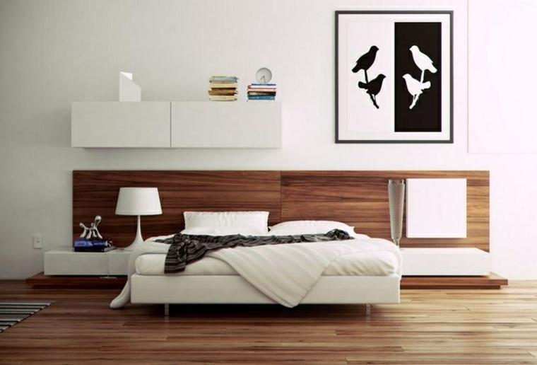 lineas limpias madera blanca cama decoraciones cuadros
