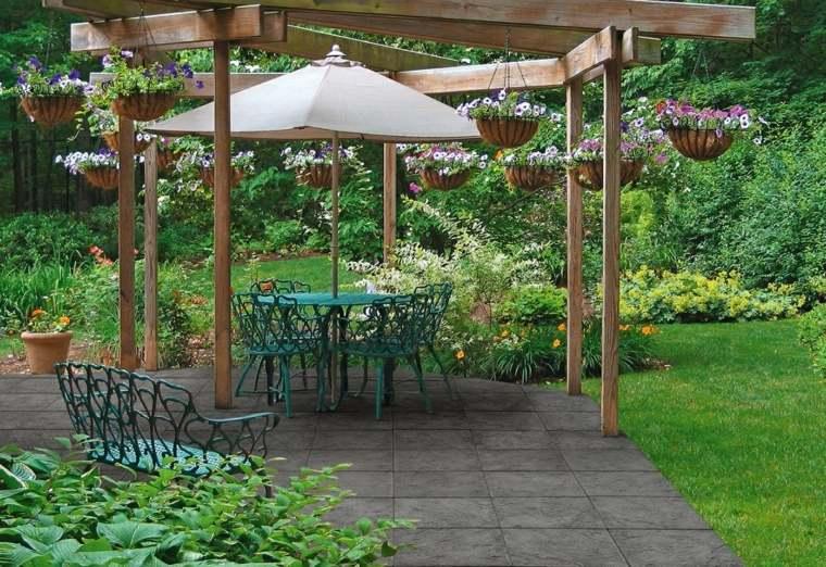 losas originales pergola jardin estilo ideas