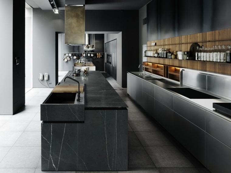 marmol negro cocina diseno Pier Lissoni ideas