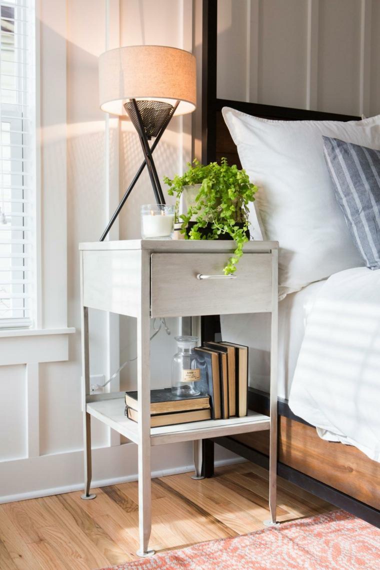 mesas laterales cama blanco metales suelos madera