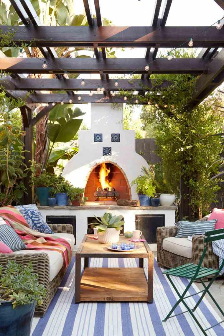 muebles de jardin diseno moderno chimenea exterior ideas