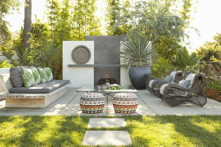 muebles de jardin diseno moderno chimenea sofa madera ideas