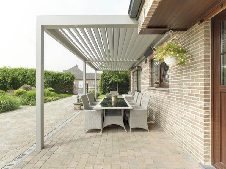 muebles de jardin diseno moderno comedor bajo pergola ideas