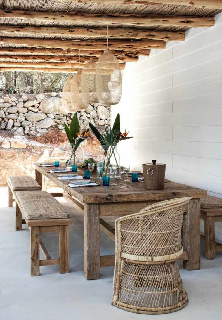 muebles de jardin diseno moderno mesa bancos madera ideas