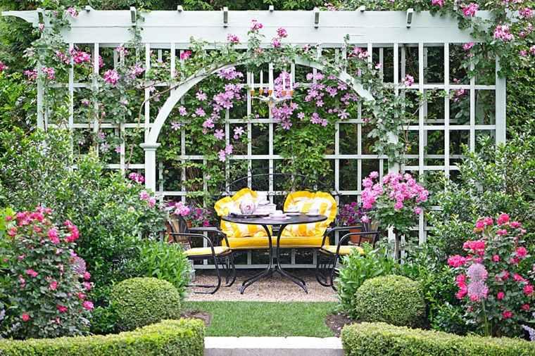 muebles de jardin diseno moderno pergola muebles acero ideas