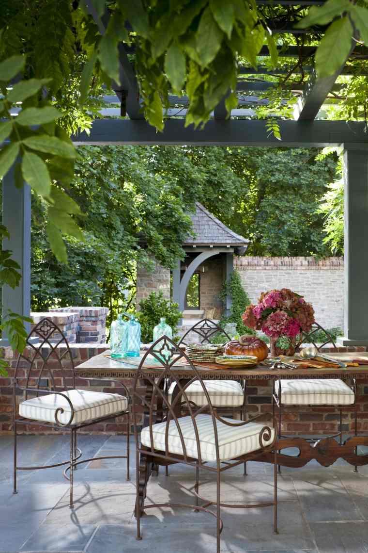 muebles de jardin diseno moderno pergola plantas ideas