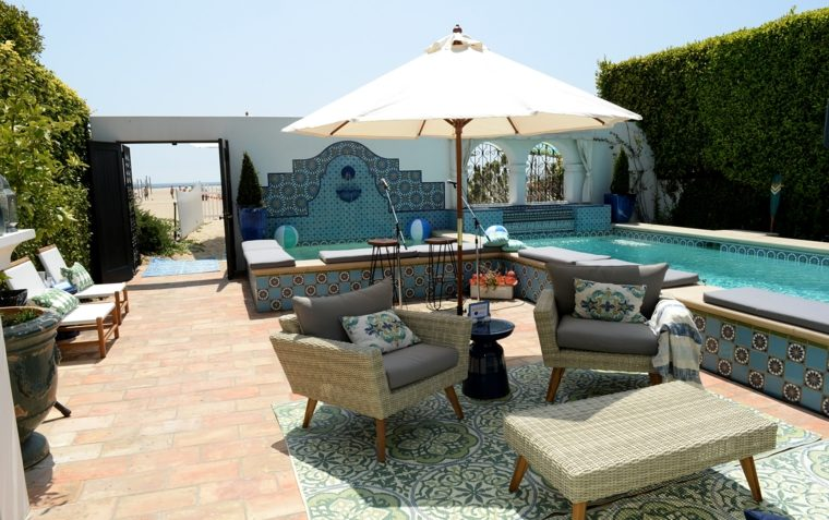 muebles de jardin diseno moderno piscina estilo original ideas