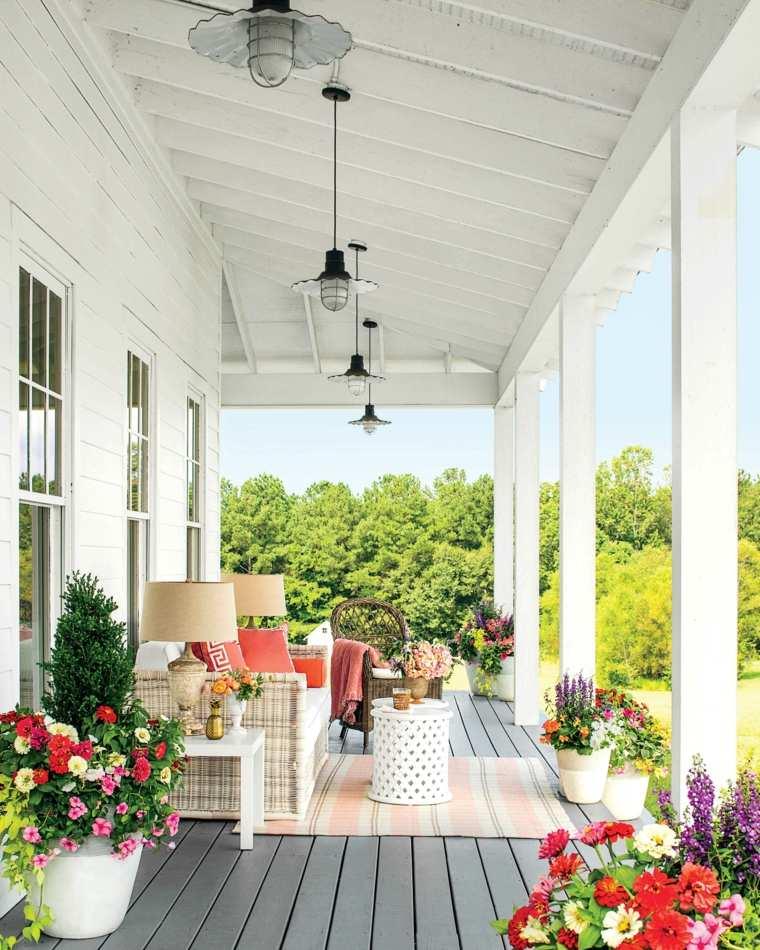 muebles de jardin diseno moderno porche colorido ideas