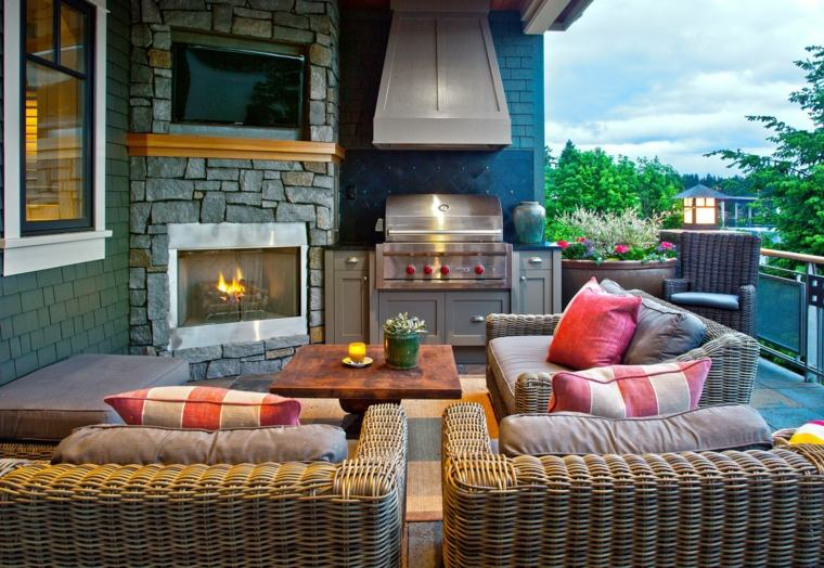 muebles de jardin diseno moderno terraza amplia cocina ideas