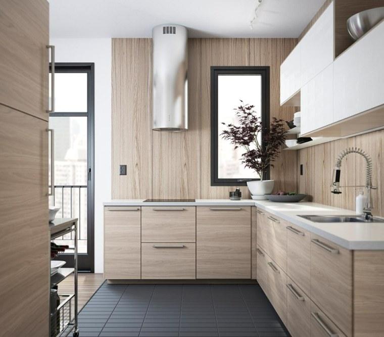 muebles madera encimeras blancas diseno ideas