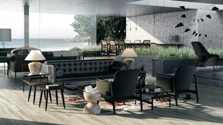 negro contemporaneo vistas playa moderno interiores