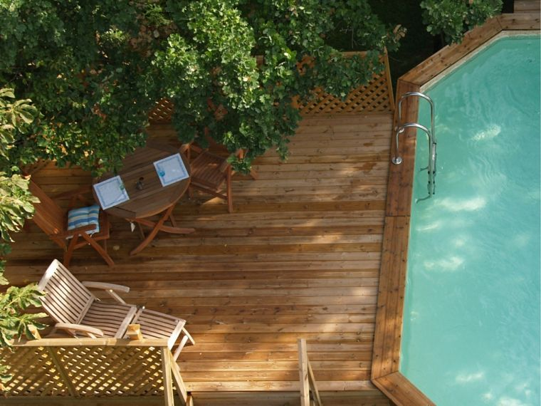 pavimentos exteriores jardin piscina suelo pino ideas