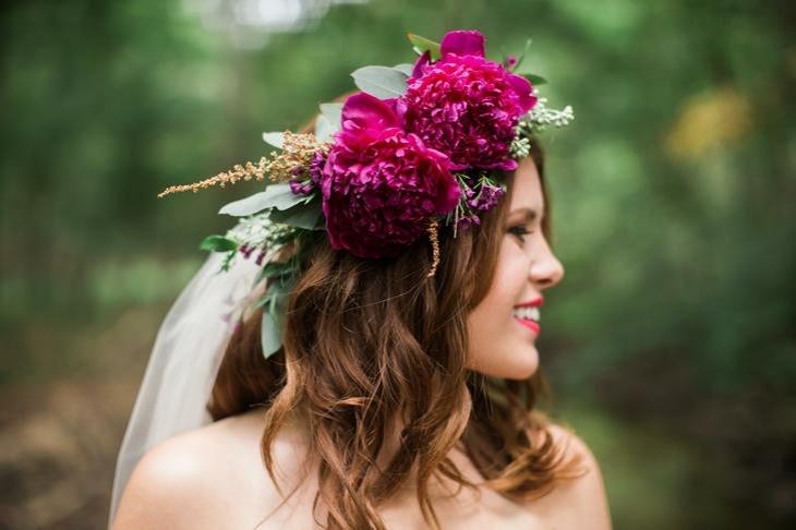 peinado boda novia decorado peonias ideas