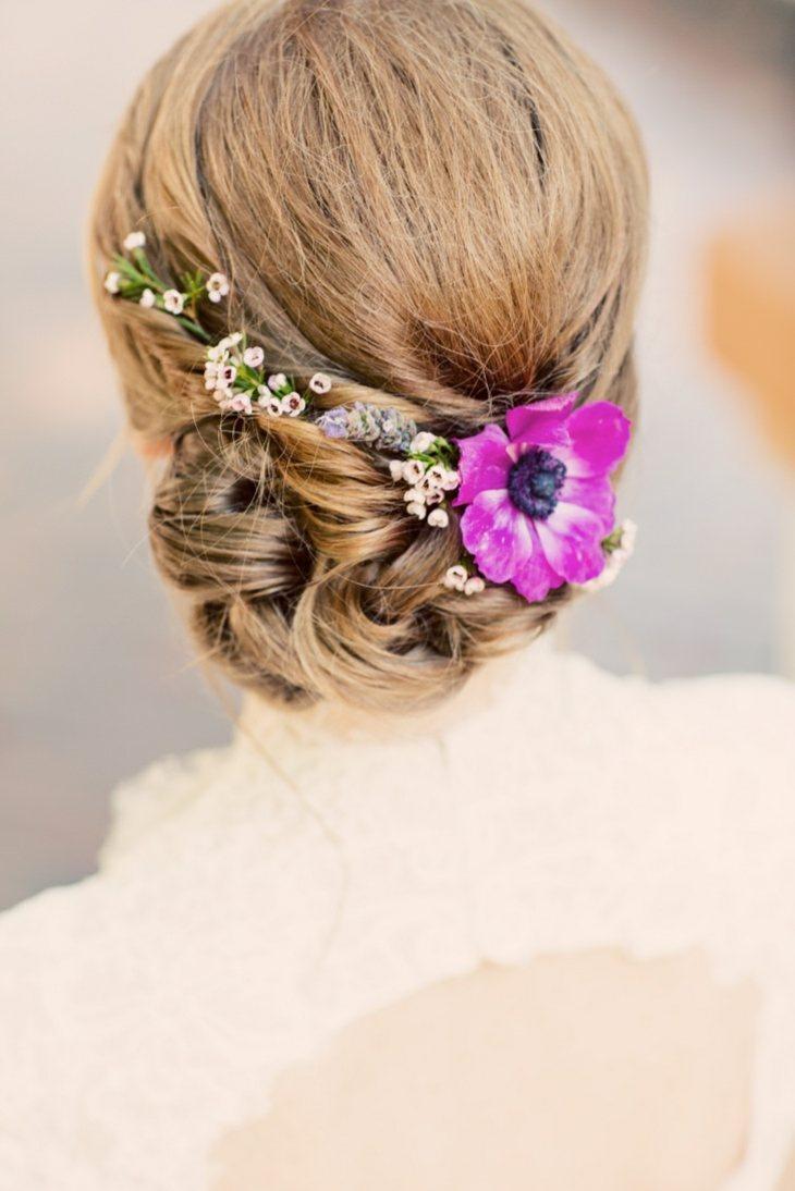 peinados para bodas recogido bajo flores disenos ideas