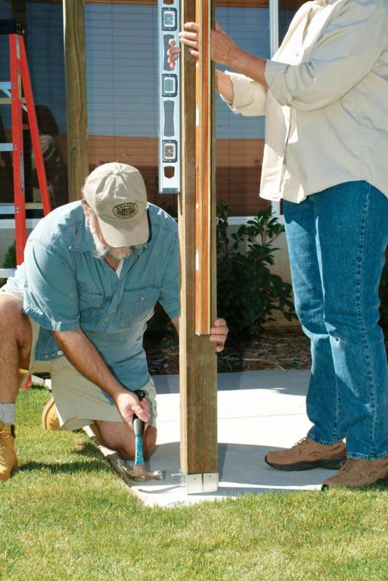 pergolas de madera construccion columnas fijacion nivel