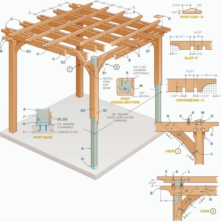 pergolas de madera construcción patios interiores salones