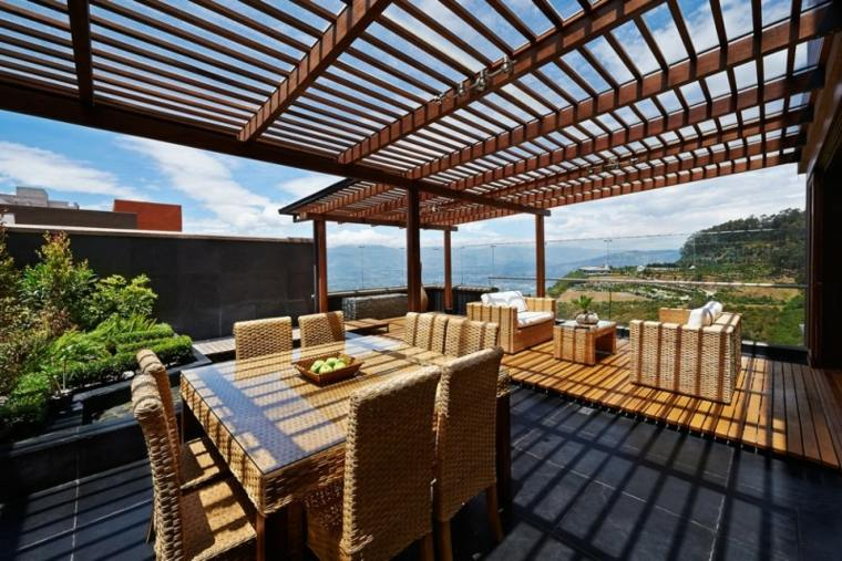pergolas-modelos-terraza-moderna-sillas-fibras-naturales-suelos