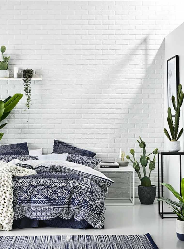plantas de interior ideas paredes ladrillos expuestos