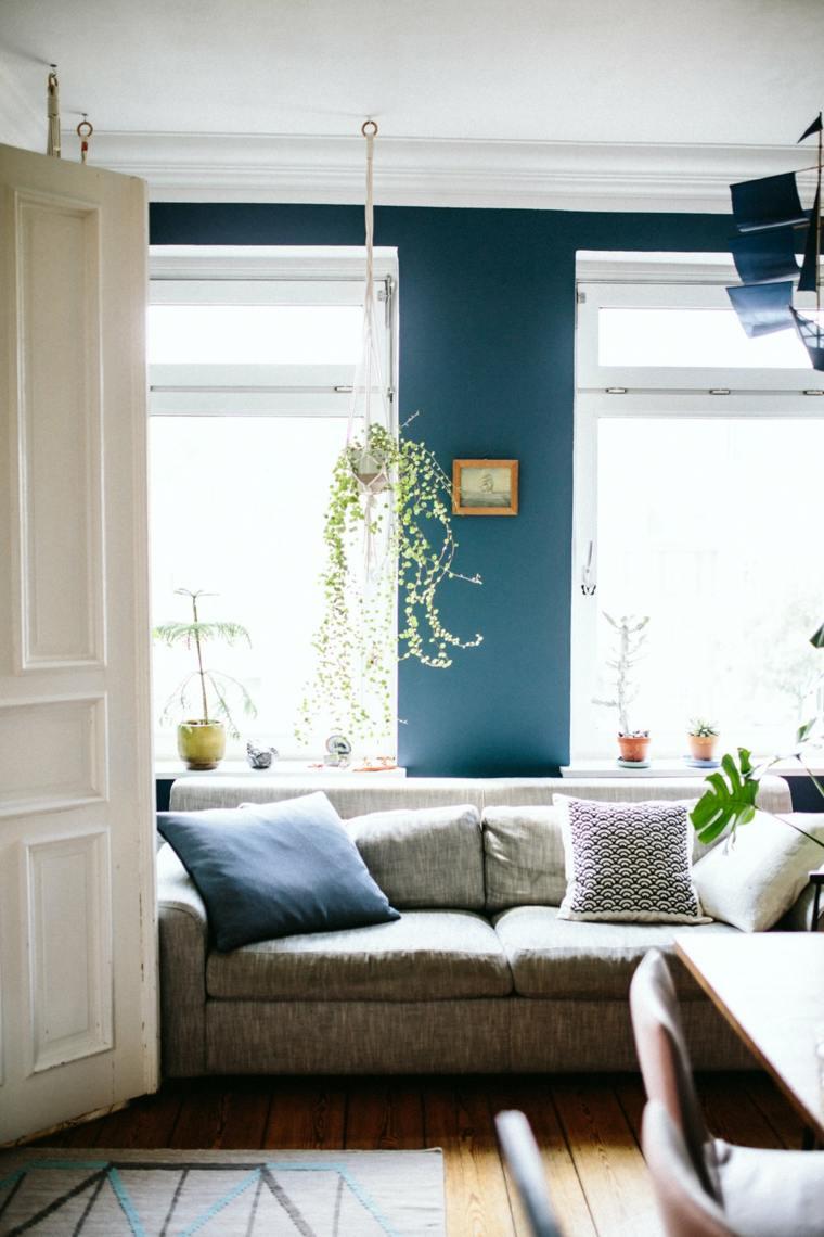plantas de interior ideas sillones colores oscuros cadros