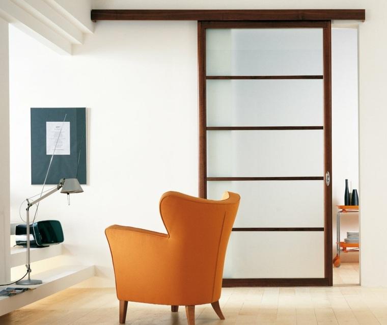 puertas correderas ideas sillone-naranja-acento-acentos