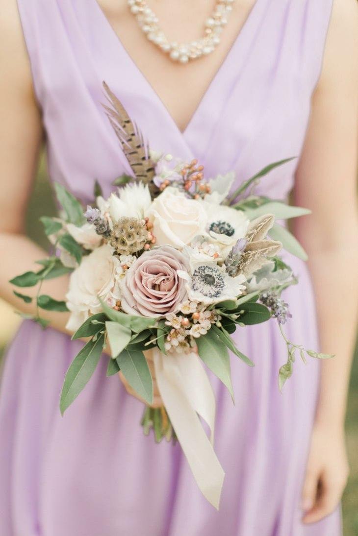 ramo anemona rosa diseno estilo boda ideas