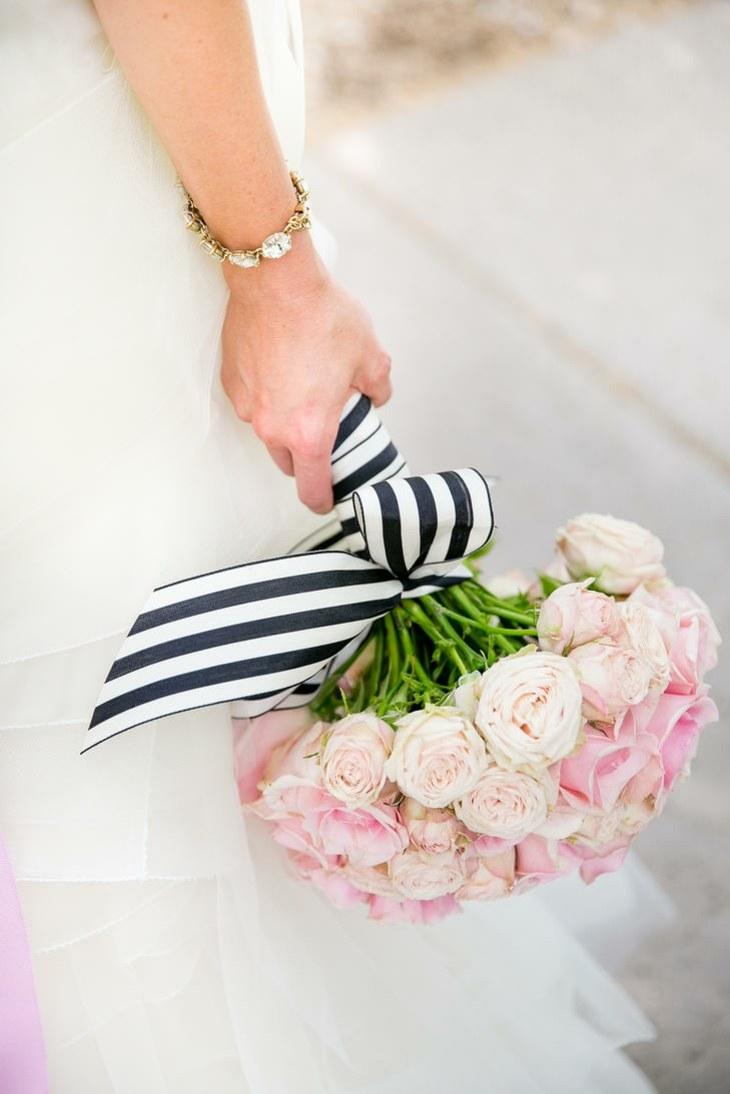 ramo novia rosas bellas atado lazo blanco negro ideas