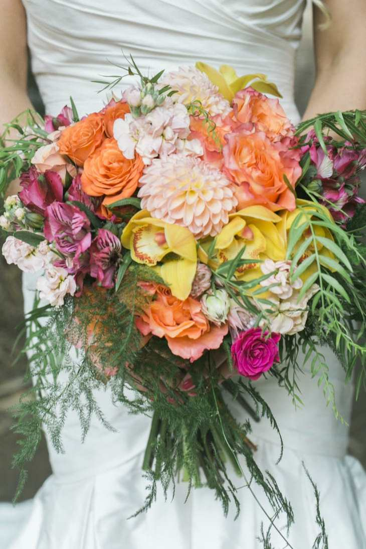 ramos de novia anemona coloridos naranja amarillo verde ideas