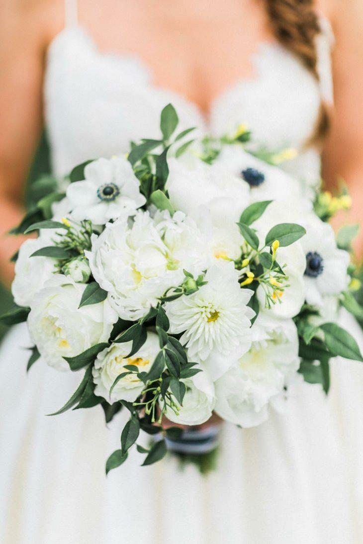 ramos de novia anemona peonias blanco ideas