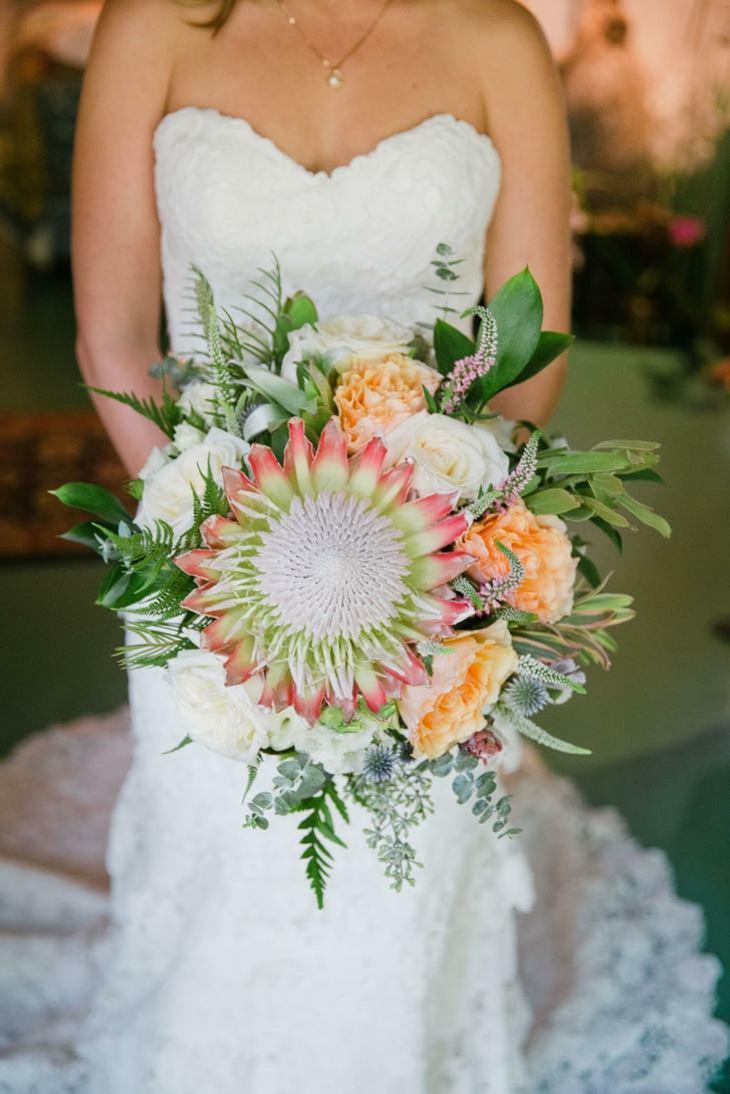 ramos de novia atractivos flor protea rey notable ideas