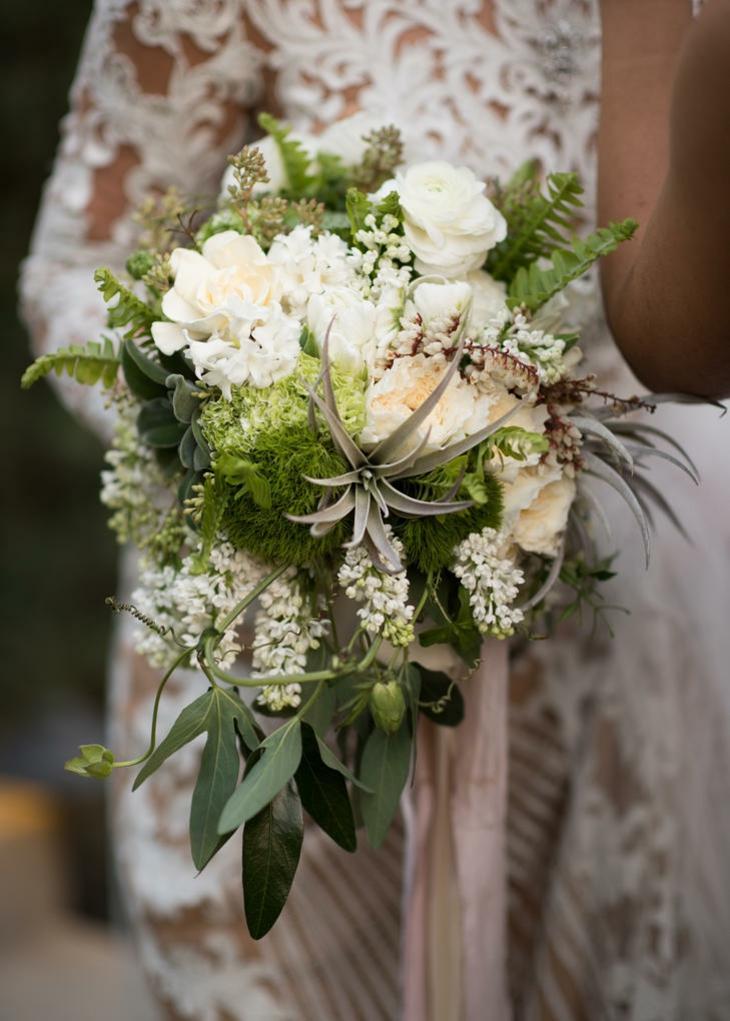 ramos de novia flores blancas plantas verdes ideas