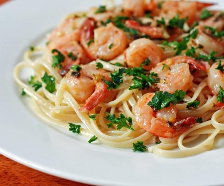 receta de espaguetis con gambas cenar-comer