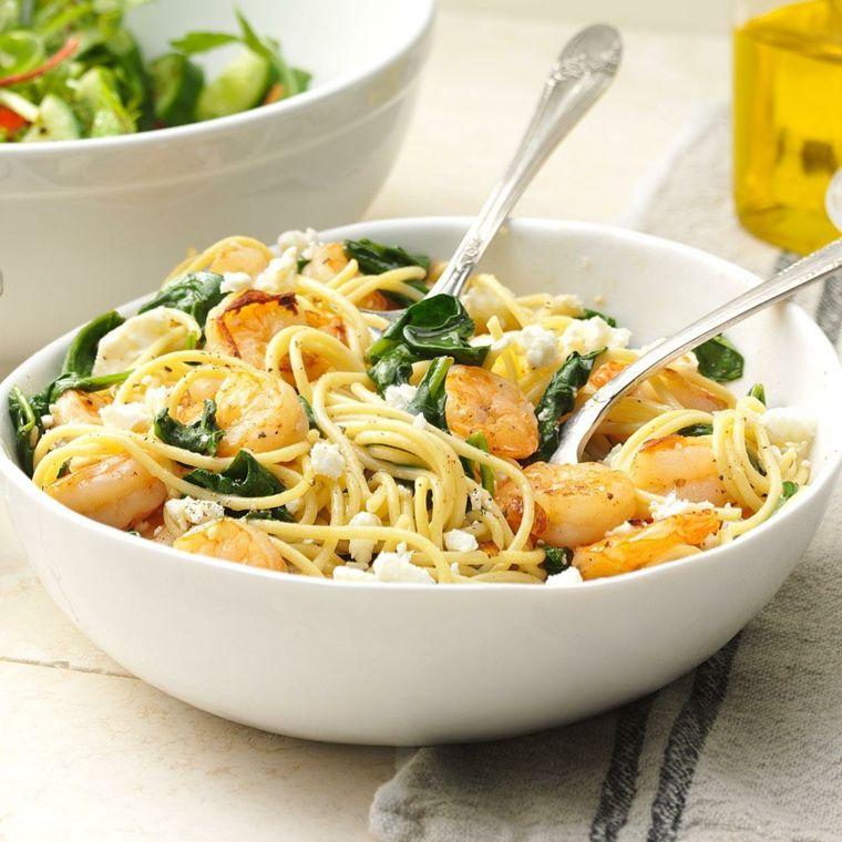 receta de espaguetis con gambas preparar