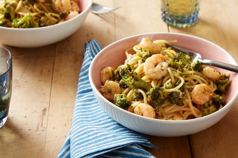 receta de espaguetis con gambas cocinar-comer