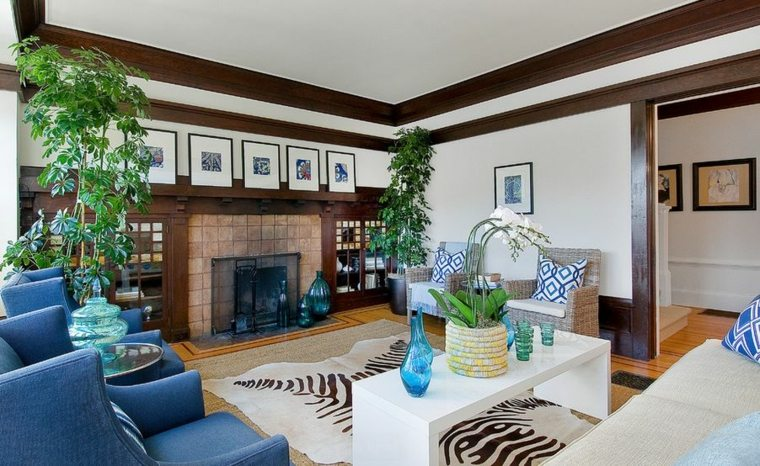 salones elegantes azules tradicional maderas