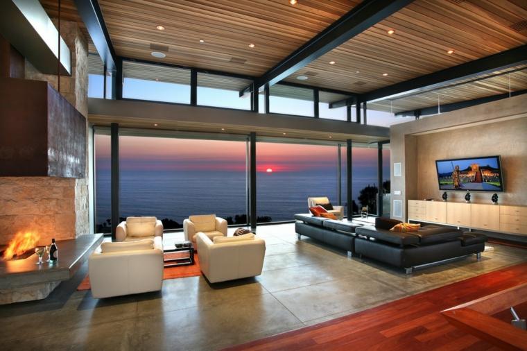 salones vistas atardeceres increibles muebles cuero chimeneas