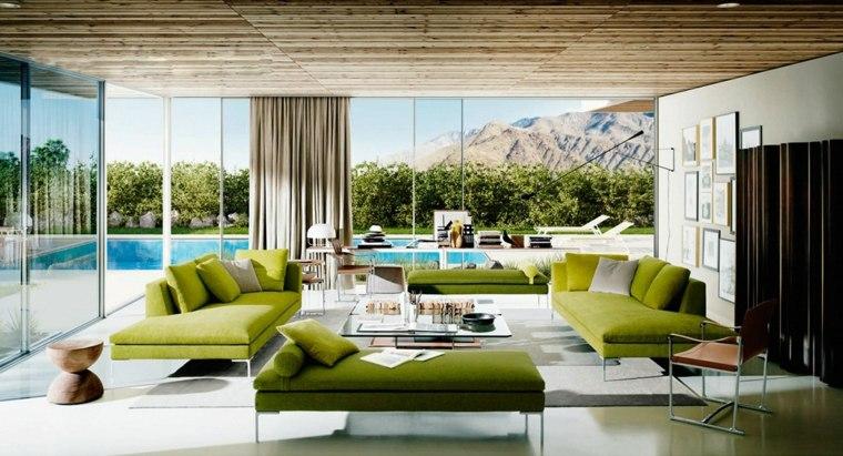 salones vistas cortinas separadores ambientes jarrones