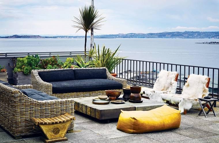 sofas mesa cafe madera estilo ideas