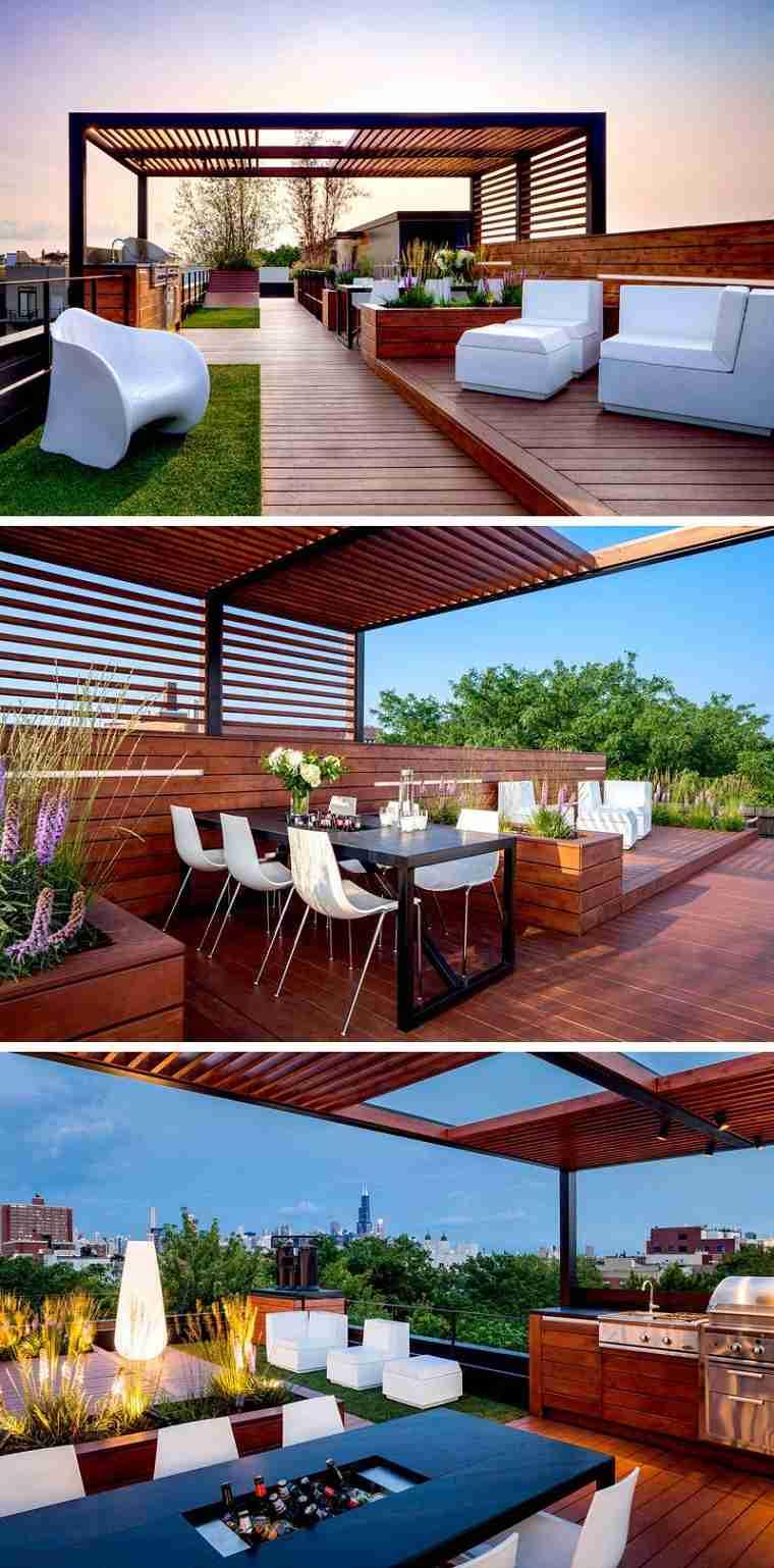 terraza pérgola moderna